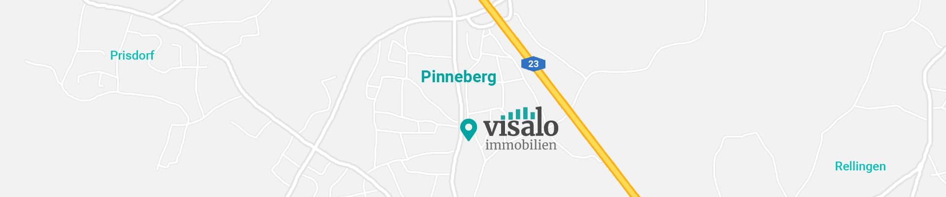 Eine Karte die den Standort von visalo immobilien zeigt